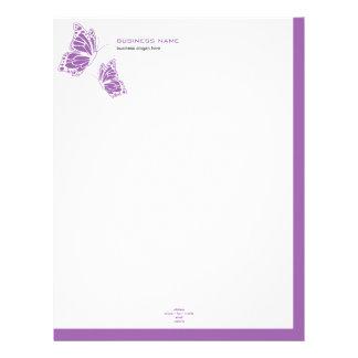 2 simples modernos elegantes violetas y blancos de membrete