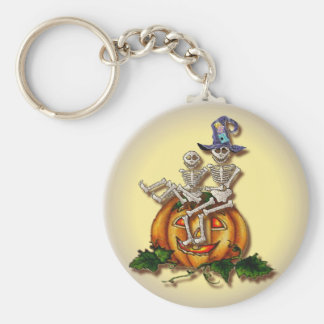 2 SKELETONS & HAT by SHARON SHARPE Key Chain