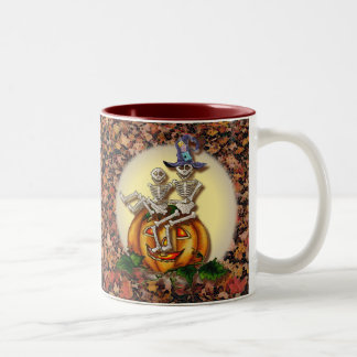 2 SKELETONS & HAT by SHARON SHARPE Two-Tone Coffee Mug
