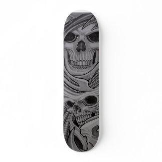 2 skull skateboard