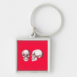2 Skulls Red Keychain