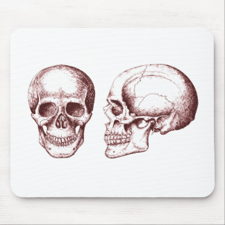 2 Skulls Red Mouse Pad