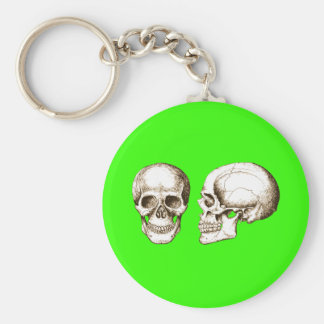 2 Skulls Sepia Keychain