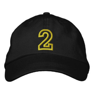 """""""2"""" Small Athletic Number Embroidered Baseball Cap"""