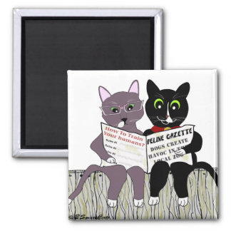 2 Smart Cats Reading Newspaper square magnet