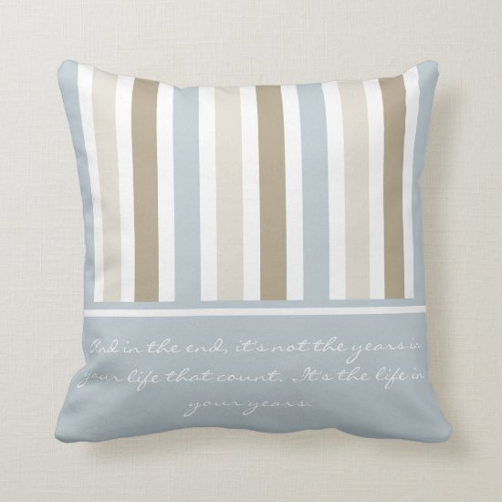 #2 Smoky Blue Gray Tan and Brown Stripes Pattern Throw Pillow