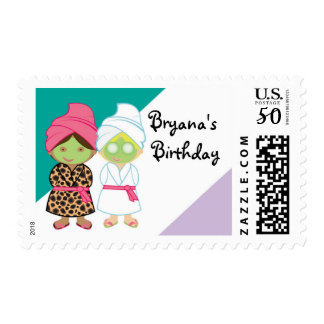 2 Spa Girls Beauty Birthday Party Stamp Postage