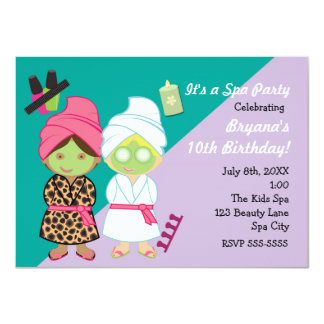 2 Spa Girls Beauty Makeover Party Invitation