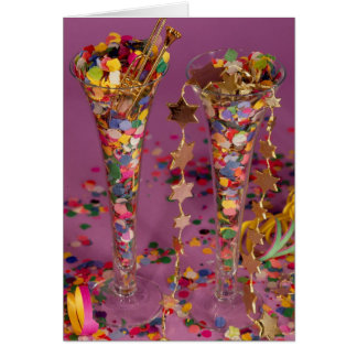 2 sparkling wine glasses filled, New Year, congrat Cards