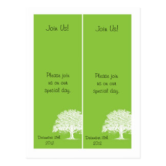 2 Spring Tree Green/White Save the Date Bookmarks Postcard