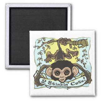 2 Stinkin' Cute Monkey Baby Magnet