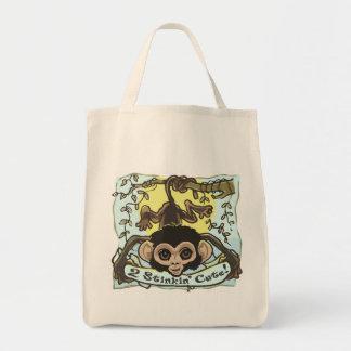 2 Stinkin' Cute Monkey Baby Tote Bag