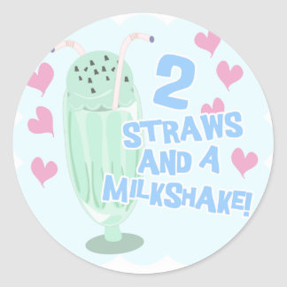 2 Straws and a Milkshake Classic Round Sticker