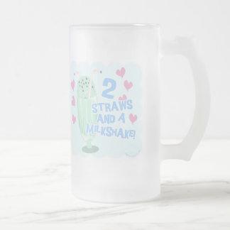 2 Straws and a Milkshake 16 Oz Frosted Glass Beer Mug