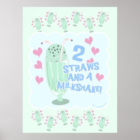 2 Straws and a Milkshake Poster