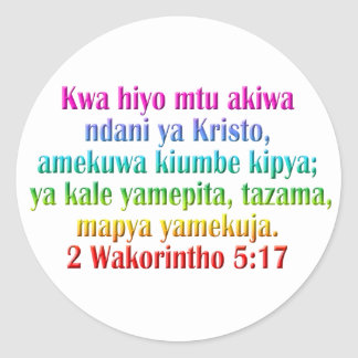 2 suajilis del 5:17 de los Corinthians Etiquetas Redondas
