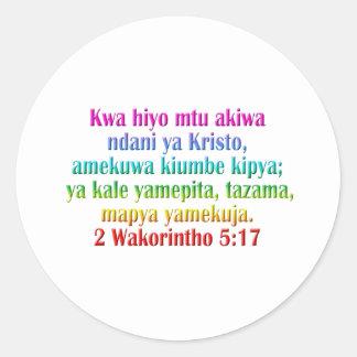 2 suajilis del 5:17 de los Corinthians Pegatina Redonda