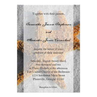 2 Sugar Starfish in the Sand, Beach Wedding Personalized Announcements