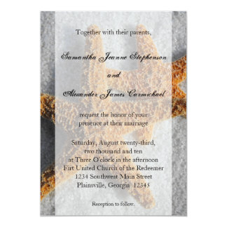 "2 Sugar Starfish in the Sand, Beach Wedding 5"" X 7"" Invitation Card"