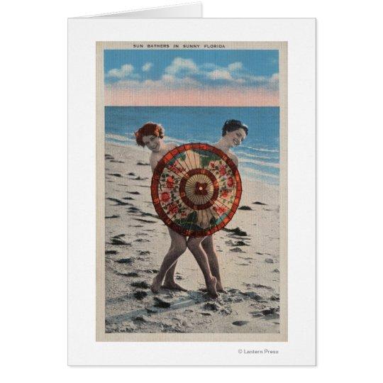 2 Sunbathing Women & Asian Umbrella, Florida Card