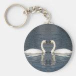 2 Swans Basic Round Button Keychain