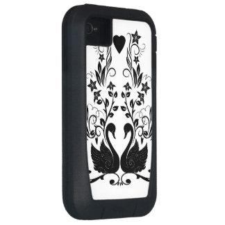 2 Swans black iPhone4 Case