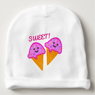 """2 Sweet 4 U"" Pink Ice Cream Baby Beanie"