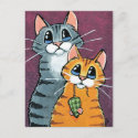 2 Tabby Cats with Toy Mouse Illustration Postcard