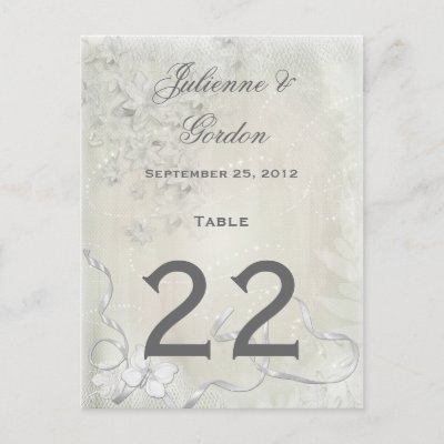 #2 Table Cards Vintage White on White Floral