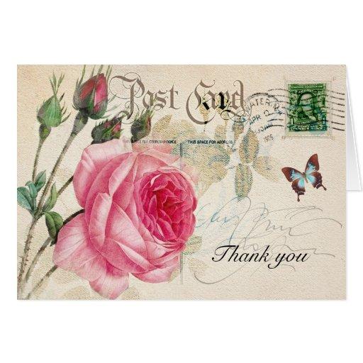 (2) tarjeta de felicitación color de rosa