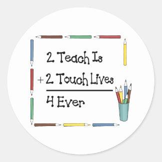 2 Teach es 2 vidas 4 del tacto nunca Pegatinas Redondas