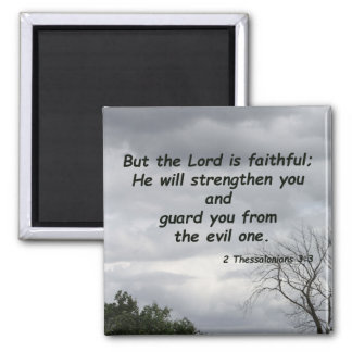 2 Thessalonians 3:3 2 Inch Square Magnet