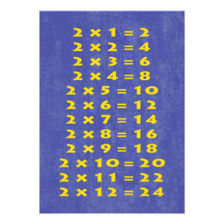 #2 Times Table Collectible Card Invitation