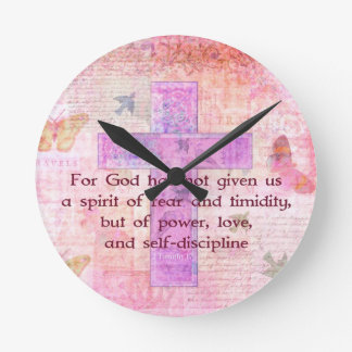 2 Timothy 1:7  Biblical quote scripture Clock