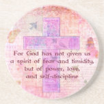 2 Timothy 1:7  Biblical quote scripture Drink Coaster