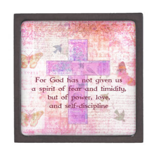 2 Timothy 1:7  Biblical quote scripture Gift Box