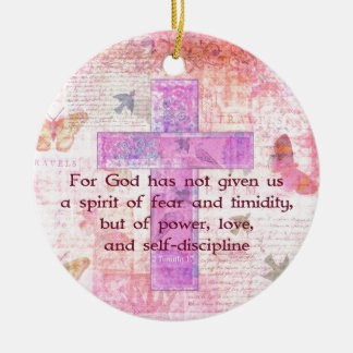 2 Timothy 1 7 Biblical quote scripture Christmas Ornaments