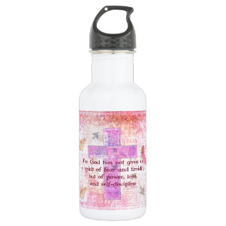 2 Timothy 1:7  Biblical quote scripture 18oz Water Bottle