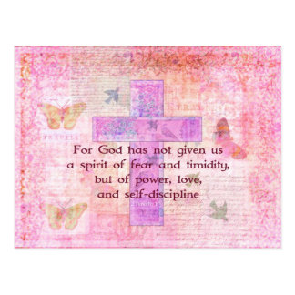2 Timothy 1:7  Biblical quote scripture Postcard