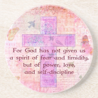 2 Timothy 1:7  Biblical quote scripture Sandstone Coaster