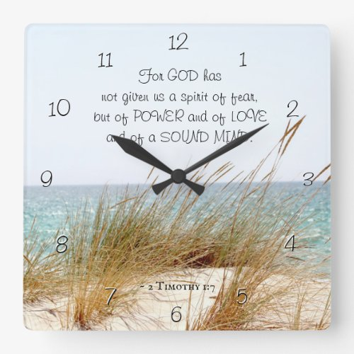 2 Timothy 1:7 God has not given a spirit of fear, Square Wall Clock