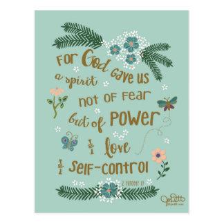 2 Timothy 1:7 hand lettered Scripture art Postcard