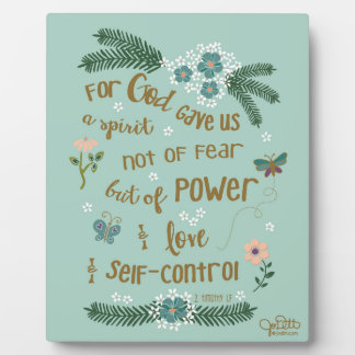 2 Timothy 1:7 Scripture art hand lettered Plaque