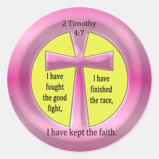 2 Timothy 4:7 Cross Classic Round Sticker