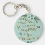 2 Timothy 5:7 Scripture art hand lettered Basic Round Button Keychain