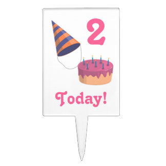 2 Today!- Birthday-Party Hat and Cake Cake Topper