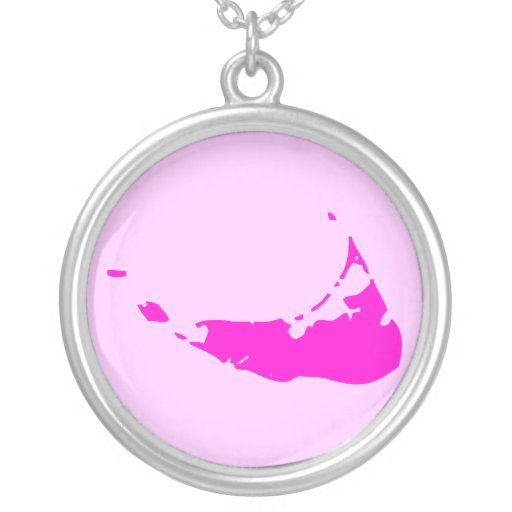 2-Tone Pink Nantucket Round Pendant Necklace