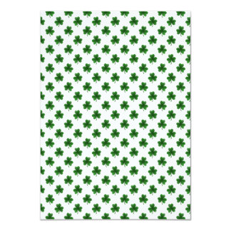 "2-Tone Shamrock Green on White St.Patrick's Clover 4.5"" X 6.25"" Invitation Card"