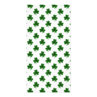 2-Tone Shamrock Green on White St.Patrick's Clover Picture Card