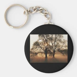 2 TREES SEPIA GOLD ORANGE BASIC ROUND BUTTON KEYCHAIN